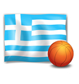 The flag of Greece at the back of a ball vector image vector image