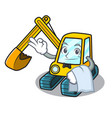 waiter excavator mascot cartoon style vector image vector image
