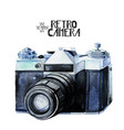 watercolor vintage retro camera vector image vector image