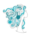 Wavy hairstyle female head for your design vector image