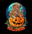 a cute halloween teddy bear with a knife sitting o vector image vector image