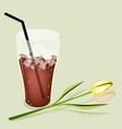 A Delicious Iced Coffee and White Daisy vector image vector image