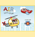 air transportations with funny pilot cartoon vector image vector image