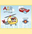 air transportations with funny pilot cartoon vector image