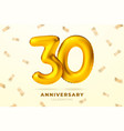 anniversary golden balloons number 30 vector image vector image