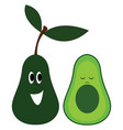 avocado with face character hand drawn design on vector image vector image