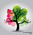 Beautiful tree with flowers vector image vector image