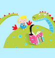 big dragon reading book to little girl vector image vector image