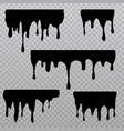 black dripping liquid silhouettes isolated on vector image