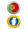 button as a symbol PORTUGAL vector image
