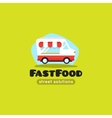 cartoon fast food truck logo vector image vector image