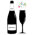Champagne with glass vector image vector image
