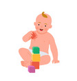 cheerful smiling baby playing with colorful cubes vector image