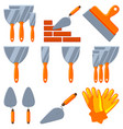 colorful cartoon 11 wall construction element set vector image vector image