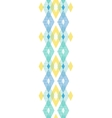 Colorful fabric ikat diamond vertical seamless vector image vector image