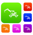 crane truck set color collection vector image vector image
