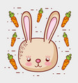 cute bunny with carrots doodle cartoons vector image vector image