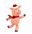 cute pig and santa hat symbol of the year in the vector image vector image