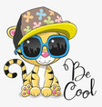 cute tiger with sun glasses vector image