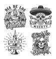 day dead vintage emblems vector image vector image