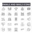 emails and mails line icons for web and mobile vector image vector image