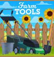 farm tools lawn mower bucket and shovel vector image