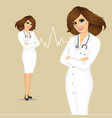 female doctor with arms folded vector image