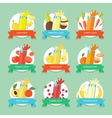 Fruit smoothie collection Juices and beverages vector image