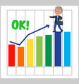 happy businessman with good bar chart vector image