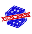 hexagon bicolor baked with love rubber stamp