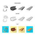 isolated object of tree and raw symbol set of vector image vector image