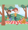 jumping couple blanket food picnic nature outdoors vector image