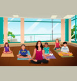 kids in yoga class vector image