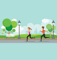 man and woman running in the park vector image vector image