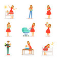 mom and ad take care of their children set for vector image vector image