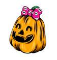 monster yellow pumpkin girl with big vector image vector image