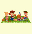 mother with two children sitting on green grass in vector image vector image
