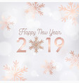 new year 2019 card with gold glitter snowflakes vector image