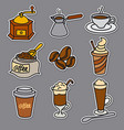 offee drinks stickers vector image vector image