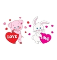 Pig and rabbit holding a heart characters vector image vector image