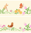 seamless ornaments with flora and fauna vector image vector image