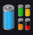set batteries icon various types charged vector image vector image