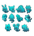 set cartoon ice figurines of animals turquoise vector image vector image