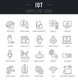 set line icons iot vector image vector image