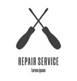 silhouette icons a crossed screwdrivers repair vector image vector image