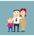Smiling pregnant woman with husband and son vector image vector image