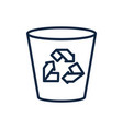 trash bin recycle ecology environment icon linear vector image