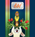 vertical cartoon greeting card easter vector image