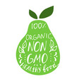with lettering text on green pear vector image vector image