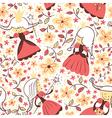princess floral seamless pattern vector image